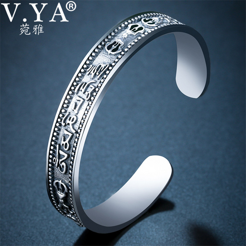 V.YA 925 Sterling Silver Cuff Bracelets Bangles for Women Men Om mani padme hum Open Bangle Thai Silver Jewelry v ya vintage thai silver men bracelets bangles 925 sterling silver mens bracelet bangle cuff fine jewelry