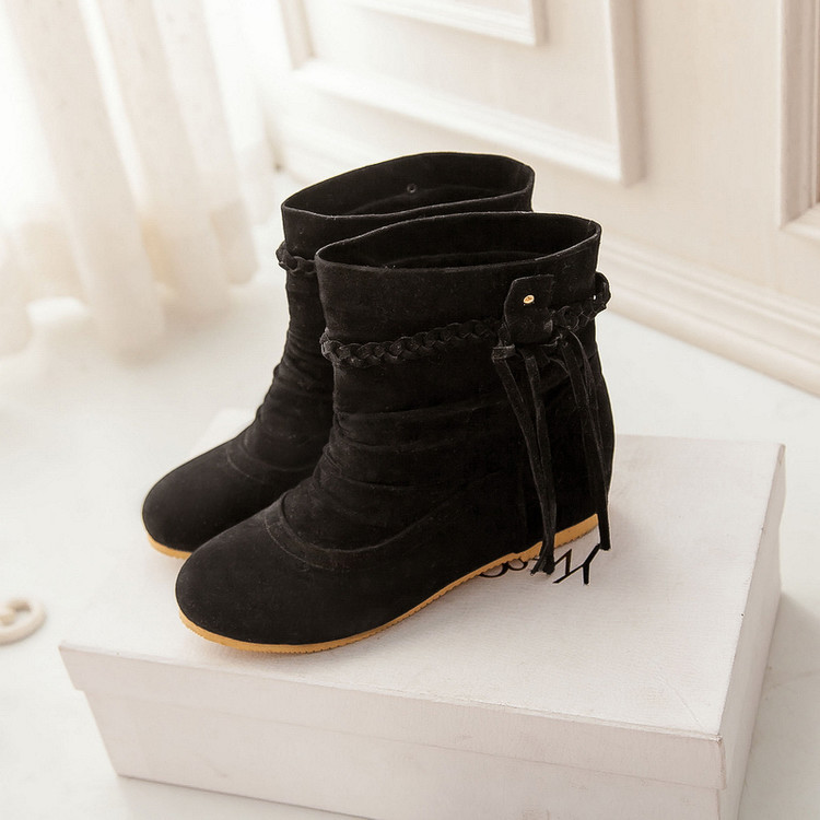 XingDeng Spring  Ladies Nubuck Soft Belt Snow Motorcycle Boots Big Size 34-43 Autumn Women Ankle Tassels Martin Boots Shoes