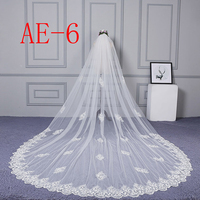 ZYLLGF Handmade Lace Edge Wedding Long Veil Cathedrals Bridal Veils For Weddings Voile Mariage BL31