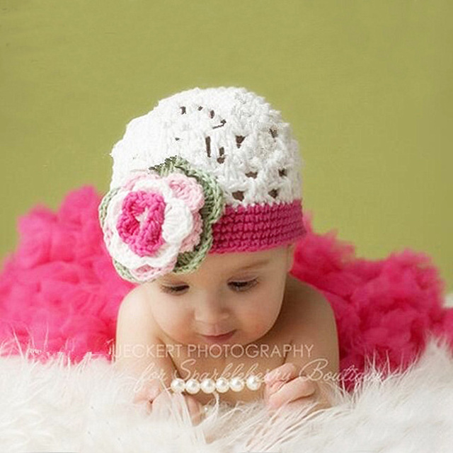 Infant baby girl knit crochet flower hat photo shoot props cap newborn baby girl birthday picture