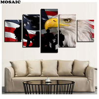 Full,Diamond Painting 5 Pieces American Flag Soldiers Animal Eagle Mosaic diamond,diy Handmade Cross Stitch Diamond Embroidery