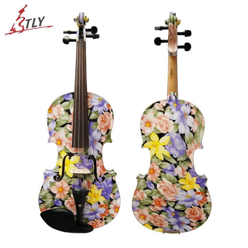 Kinglos Flowers Painted Art Violin 4/4 High-grade Ebony Fittings Maple Acoustic Violin Strings Music Instruments(LY-1101) handmade new solid maple wood brown acoustic violin violino 4 4 electric violin case bow included