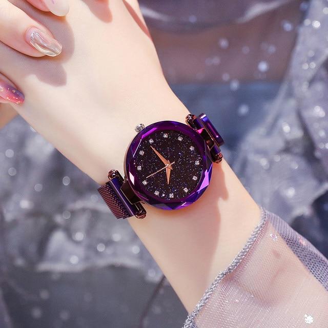 יוקרה נשים שעונים גבירותיי מגנטי שמי זרועי הכוכבים שעון אופנה יהלום נקבה קוורץ שעוני יד relogio feminino zegarek damski