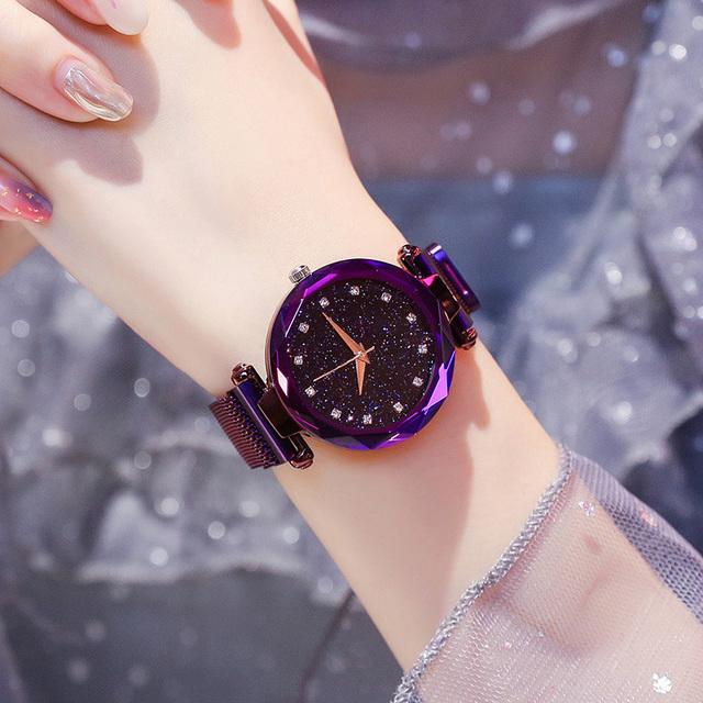 Luxury Women Watches Ladies Magnetic Starry Sky Clock Fashion Diamond Female Quartz Wristwatches