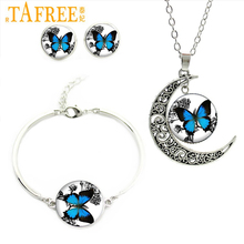Romantic White And Blue Butterfly Art Picture Glass Necklace Stud Earrings Bracelet Jewelry Set Sets For Wedding For Gifts JS136