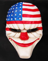 Payday 2 Dallas US National Flag Masquerade Cosplay Mask Heist joker Clown Costume Adult Head Robber Cosplay Funny Resin Masks