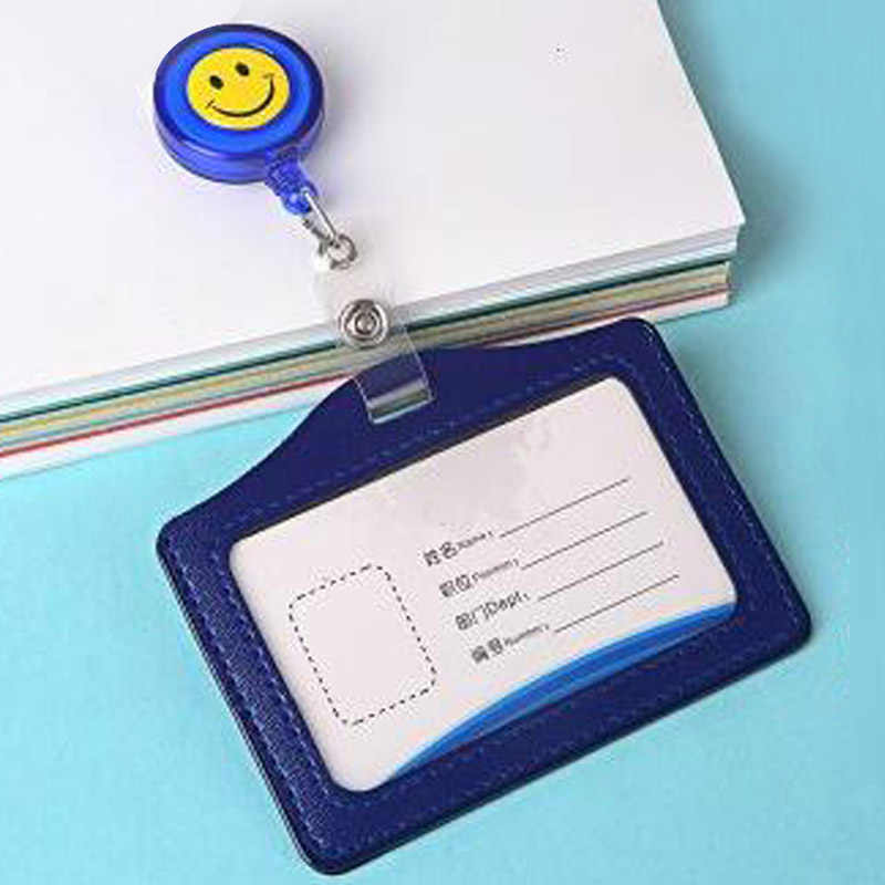 10pcs/lot Retractable Reel ID Badge Lanyard Name Tag Key Card Holder Belt Clips Office Supplie badge holder ABS/PU Free Shipping