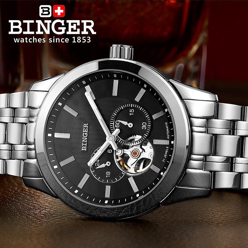 Svájc órák férfi luxus márka BINGER 18K arany Mechanikus karóra - Férfi órák - Fénykép 3