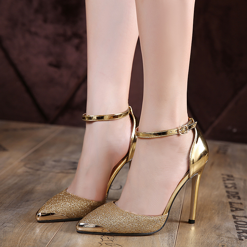 ankle strap wedding shoes gold pumps silver wedding shoes ankle heels 1313