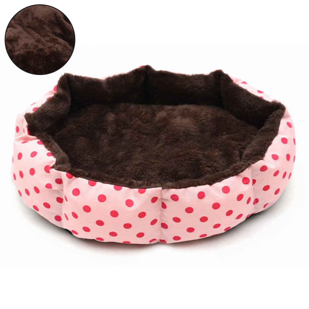 Pet Nest With Removable Mat Cat Puppy Kennel Autumn Winter Pet Dog Bed Warm Soft Material Dot Printed Octagon Dogs House J2Y