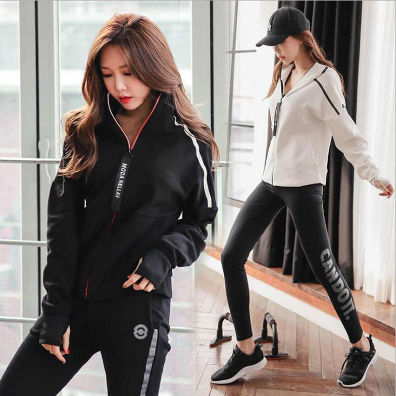 Mooie gloednieuwe Vrouwen Yoga Pak Capuchon Slim Broek Beha 3 pcs Set GYM Wit warm winter Sport Jas broek vrouwelijke kleding