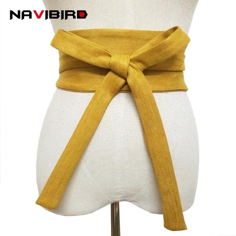 Wide Yellow Fabric Satin Corset   Belts   Women 2018 Summer Velvet Waist   Belt   Without Buckle Long Dress Waistband Bow-Tie Cinto Riem