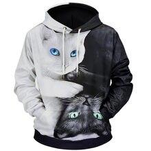 97cc5659c43 Мультфильм смесь толстовки 3D печатных кошка oversize мужские женские  пуловер с длинным рукавом толстовки с капюшоном топы sudad.