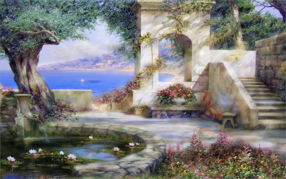 alexander miliukov parasol crimea mar vela estanque de nenfares flores felicidad verano tamaos del cuadro