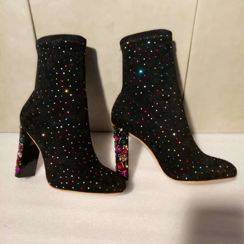 2018 Hot Autumn Winter Shoes Woman Bling Crystal Square High Heels Boots Kid Suede Mid Calf Boots Design Mujer Runway Boots