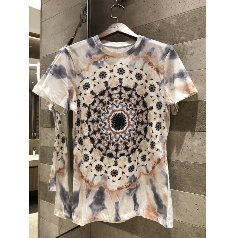 2019 lente zomer mode ronde hals zon tie geverfd brief afdrukken T shirt graffiti korte mouwen katoen + hennep top vrouwen-in T-shirts van Dames Kleding op  Groep 1