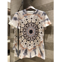 2019 spring summer fashion round neck sun tie dyed letter printing T shirt graffiti short sleeved cotton + hemp top women's