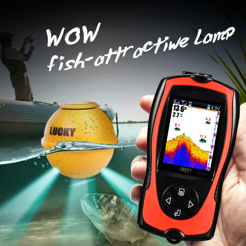 LUCKY FF1108-1CWLA fish finder with Rechargeable Wireless Remote Sonar Sensor 45M water depth High Definition LCD Fish Finder