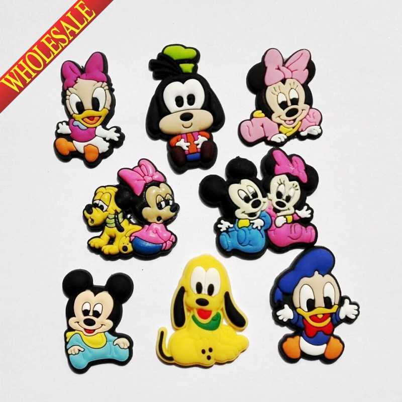 8PCS Mickey Minnie PVC shoe charms shoe accessories shoe buckle for wristbands croc kids Gift free shipping 8pcs lot mickey shoe decoration shoe charms shoe accessories for wristbands kids school gifts