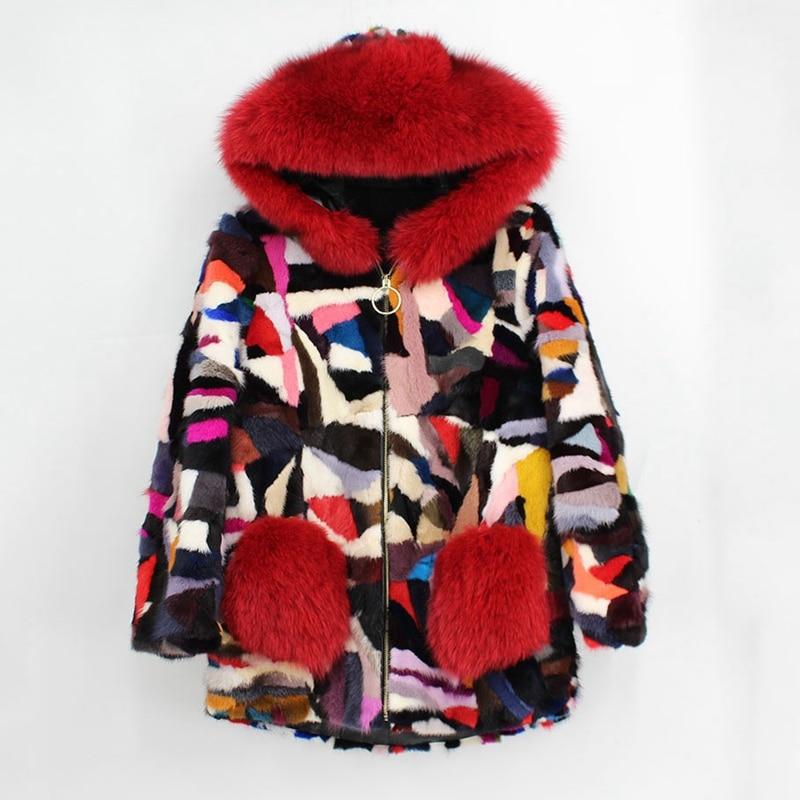 Taille Vestes Épais Outwear Chaud Moyen Zip Femmes Grande Manteaux Femme Nouvelle Red Plus À darker Renard De Capuchon gray black Colorful Du Vison long 2018 Fourrure Avec Naturel Real BgHwwU