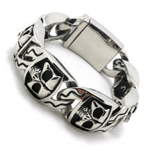 Mens boys 316L Stainless Steel Cool Silver PUNK Gothic Big Silver Skull Links Bracelet Newest