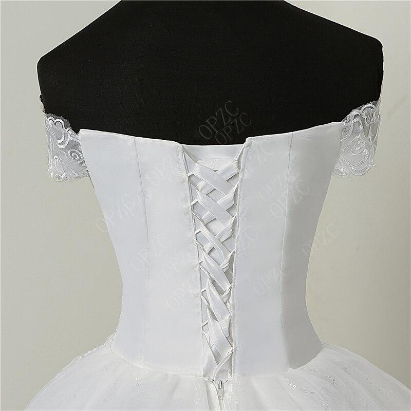 Image 5 - 35% Hot Sale Fashion Simple Lace Tull 2019 Wedding Dresses 100cm Long Train Boat Neck Elegant Plus size Vestido De Noiva Bride-in Wedding Dresses from Weddings & Events