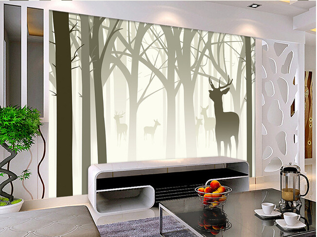 The Custom Papel De Parede 3 D Nostalgic Abstract Hand Painted Tree Elk Silhouette Living Room Sofa Tv Wall Bedroom Paper In Wallpapers From Home