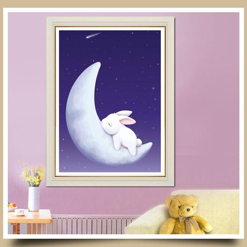 Moda Księżyc królik Daimond Malowanie sztuczny rhinestone zestaw - Sztuka, rękodzieło i szycie - Zdjęcie 3