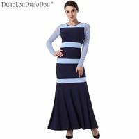 DuaoLouDuaoDou Trang Phục thiết kế Ban Đầu chất lượng cao áo choàng Dài tay áo New thời trang đi làm knit dresses phụ nữ ăn mặc S-XL