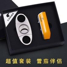 COHIBA Pocket Metal Snake Mouth Shape Refillable Butane Gas 3 Torch Jet Flame Cigarette Ci