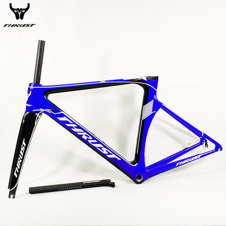 THRUST Carbon Road Frame 48 50 52 54 56 cm T1000 Carbon Frame Road Bicycle Bike Frame Blue BSA BB30 2 years Warranty 9 Colors цена