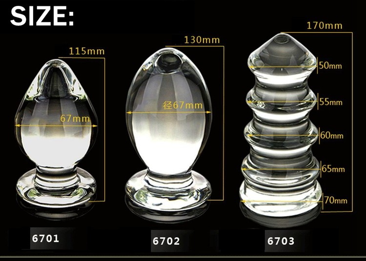 VAHPPY1 piece Extra Large Huge Head Glass Anal Plugs G-spot Crystal Anal Plug Bomb Plug Super Big Size Pyrex Glass Anal sex toys 1