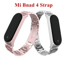 Mi Band 4 Strap Screwless Stainless Steel Bracelet For Xiaomi band Smart my miband Replace Accessories black