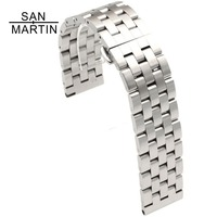 San Martin Stainless Steel Watchband Watch Strap Black Ring Buckle 20mm Striped Replacement Band Watch Accessories watch brand