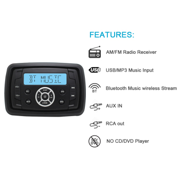"4"" 2 Way Waterproof Speakers Marine Bluetooth Audio Radio FM AM MP3 Music Stereo Player For ATVUTV Car Outdoor Boat Accessories"