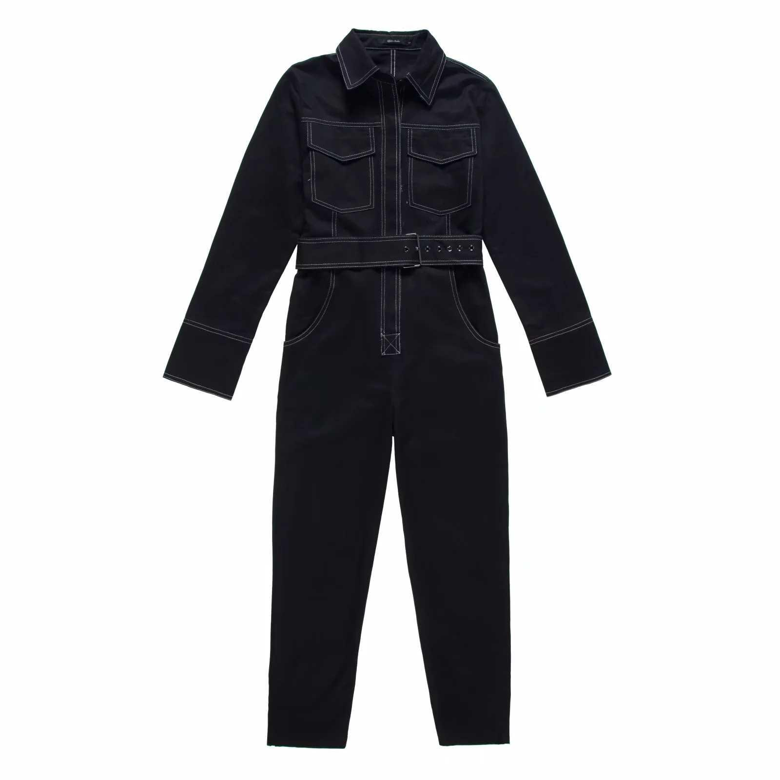 Mono de mezclilla Sexy para mujer mameluco de manga larga Cinturón Negro/blanco invierno otoño Jeans mono mujer 2019 Streetwear monos