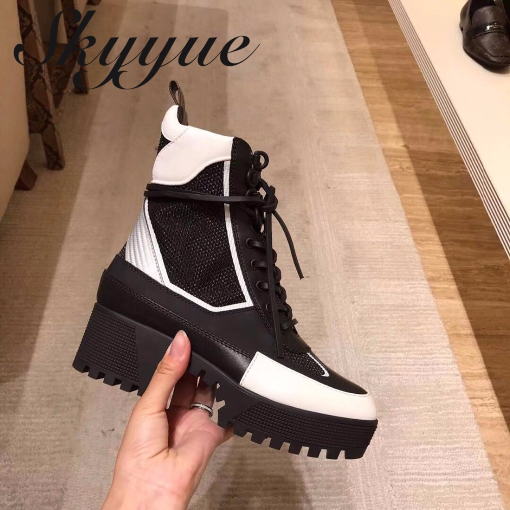 SKYYUE Geneuine Leather Gladiator Lace Up Women Boots Round Toe Platform 5.5CM Heel Women Ankle Boots Winter Boots Shoes Women moraima snc winter fashion women lace up boots flower print mixed colors metal decoration platform round toe gladiator boots