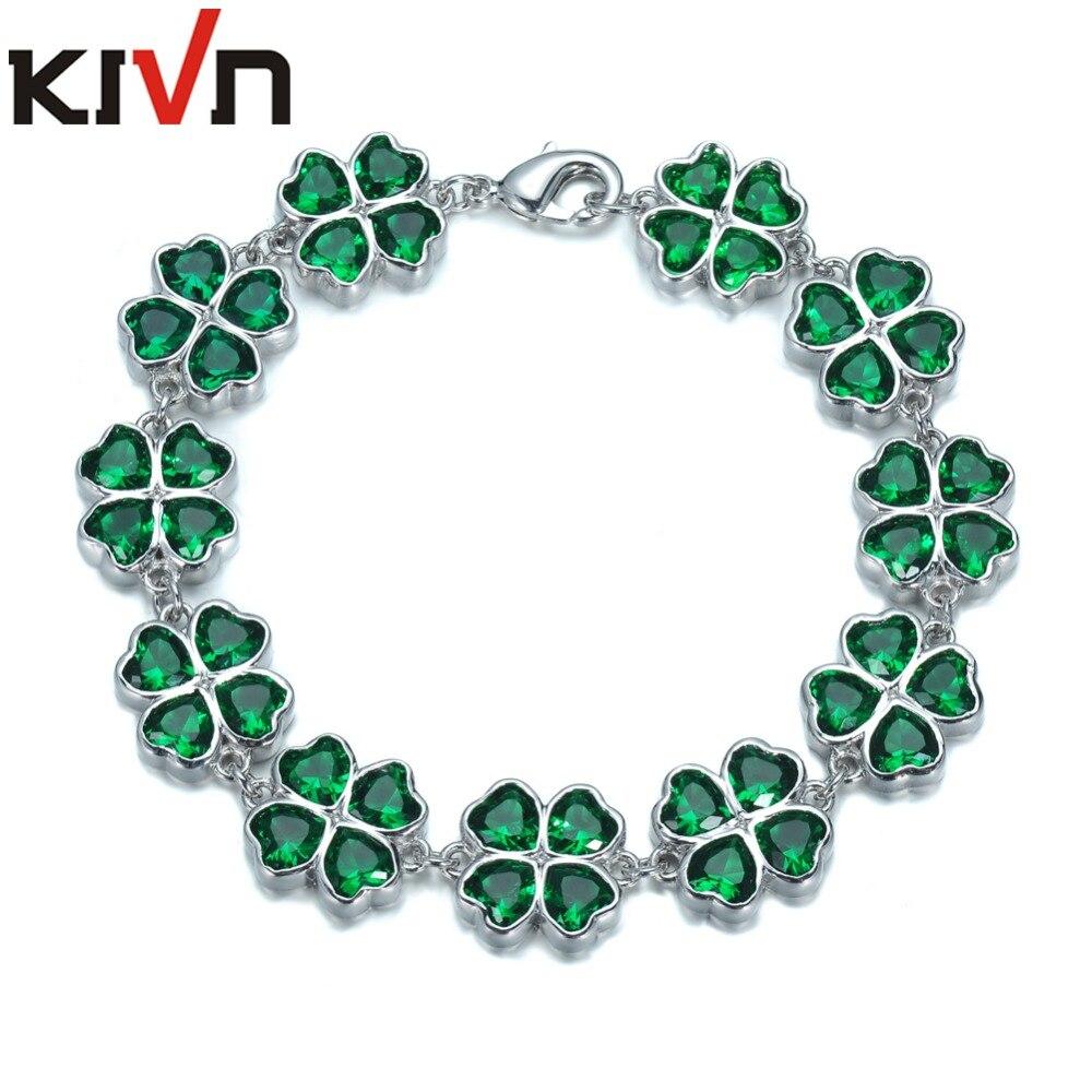 KIVN Womens Fashion Jewelry Lucky Four Leaf Clover Green CZ Cubic Zirconia Bridal bracelets Mothers Birthday Christmas Gifts цена