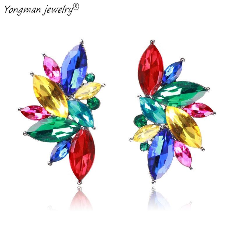 YONGMAN Brand New Flower Opal Stone Stud Earrings Christmas Party Elegant Crystal Earrings For Women Trendy Earrings 2018 aretas