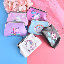 Brand Mini Snacks Change Purse Money Bag Small Pocket PU Leather Unicorn Coin Purse Cartoon Simple Hasp Magical Wallet(China)