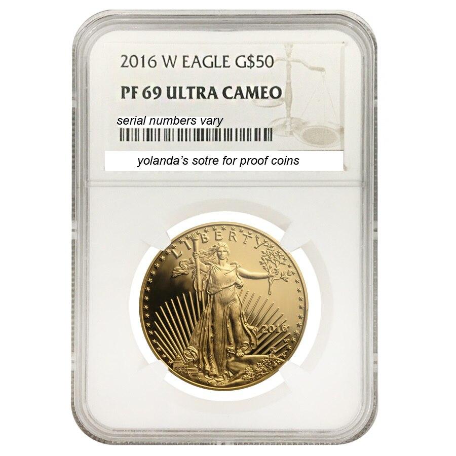 2016 вольфрама монеты покрытием 1,5 г. 999 чистого золота American eagle монета градуированных PF70 в первоначально владельца и случай