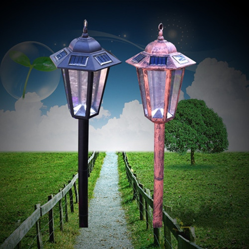 Retro Outdoor LED Solar Powered Pillar Wall Inserted Lawn Lights Waterproof Path Street Garden Motion Sensor Lamp Lighting Decor retro led solar panel hexagonal lawn lights waterproof garden outdoor home street lamp motion sensor new year garland decoration