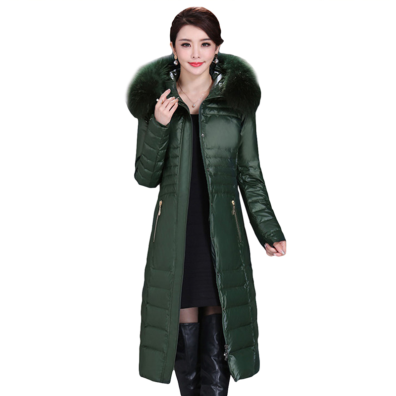 Plus Size L-5XL Winter Women Parka Brand Clothing Fashion White Duck   Down   Jacket Real Fur Collar Warm Thickening Long   Down     Coat