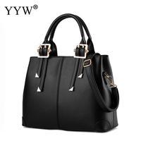 Wholesale Solid PU Leather Female Tote Bag Black Women'S Boston Handbags Crossbody Bags For Women 2018 Designer Top handle Bag