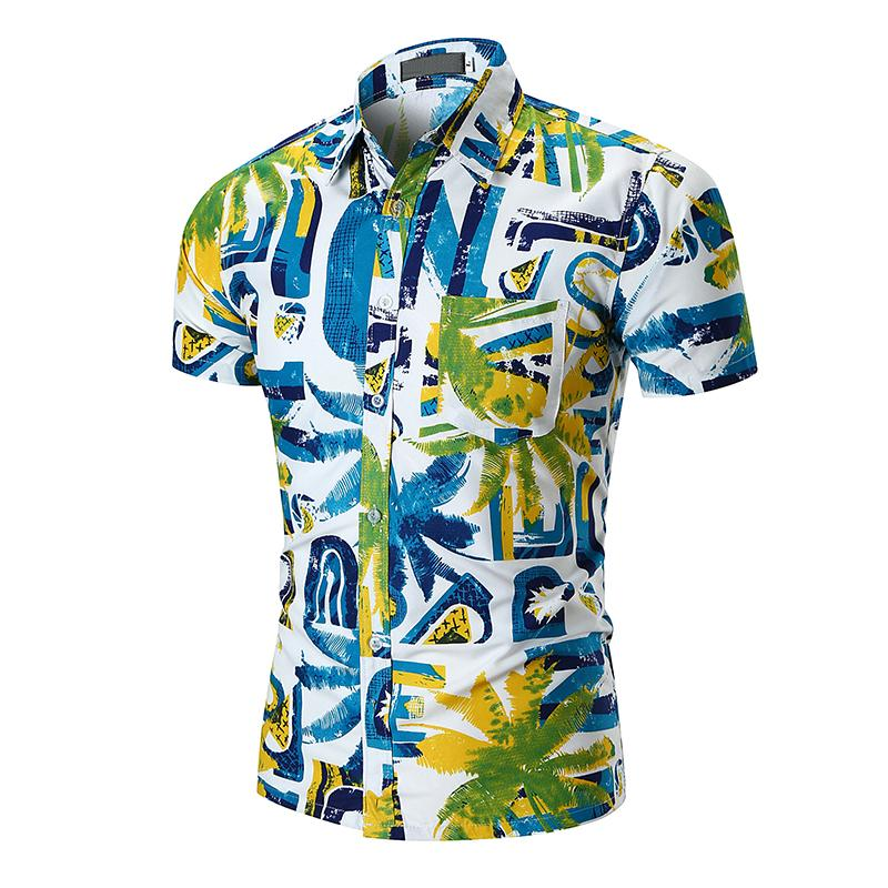 Short Sleeve Shirt Men Coconut Tree Print Beach Camiseta masculina Shirts Mens Clothing Casual Fashion Blouse