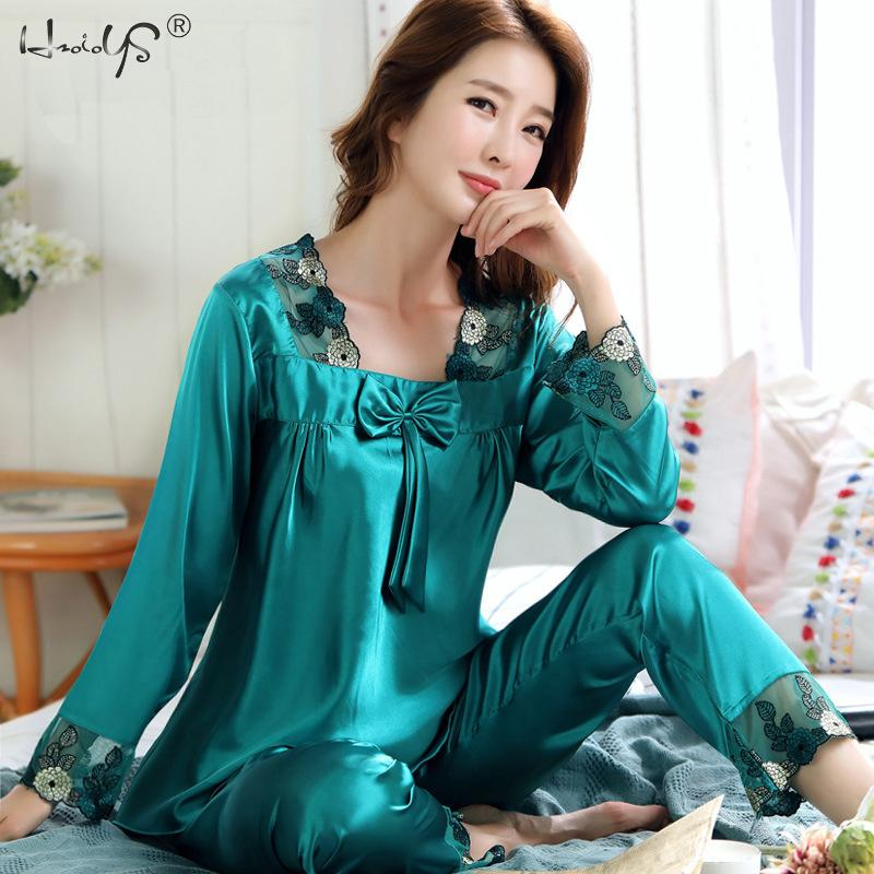 Women's Silk Satin Pajamas Set Lounge Pajama Sets Ladies Sexy Flower Lace Sleepwear Pyjamas Nightwear Pajama Suit Lingerie