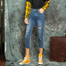 Brief Relate blue jeans holes sanding edge patchwork design casual cut pockets mid-waist regular wear summer autumn