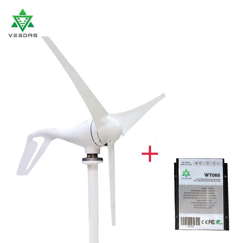 Petit moulin à vent de générateur de Turbine de vent de 300W 12V ou 24VAC 3/5 lames pour l'usage à la maison
