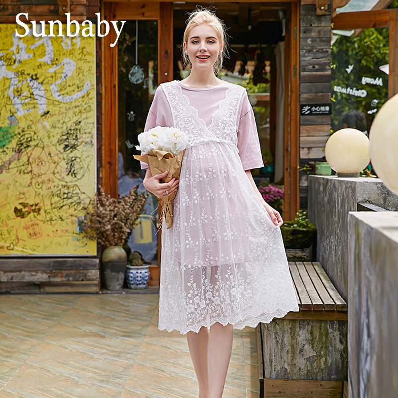 Sunbaby Summer Maternity Dresses Fashion Casual Floral Lace Dress With Long T-shirt 2 piece set clothes for pregnant women 2017 autumn maternity dress t shirt