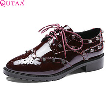 QUTAA 2017 Rivet Genuine leather Women Pumps Square Low Heel Lace Up Pointed Toe Platform Autumn Ladies Wedding Shoes Size 34-39